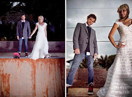 noivos de skate no casamento