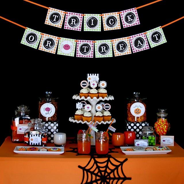 decoração festa temática Halloween mesa doce
